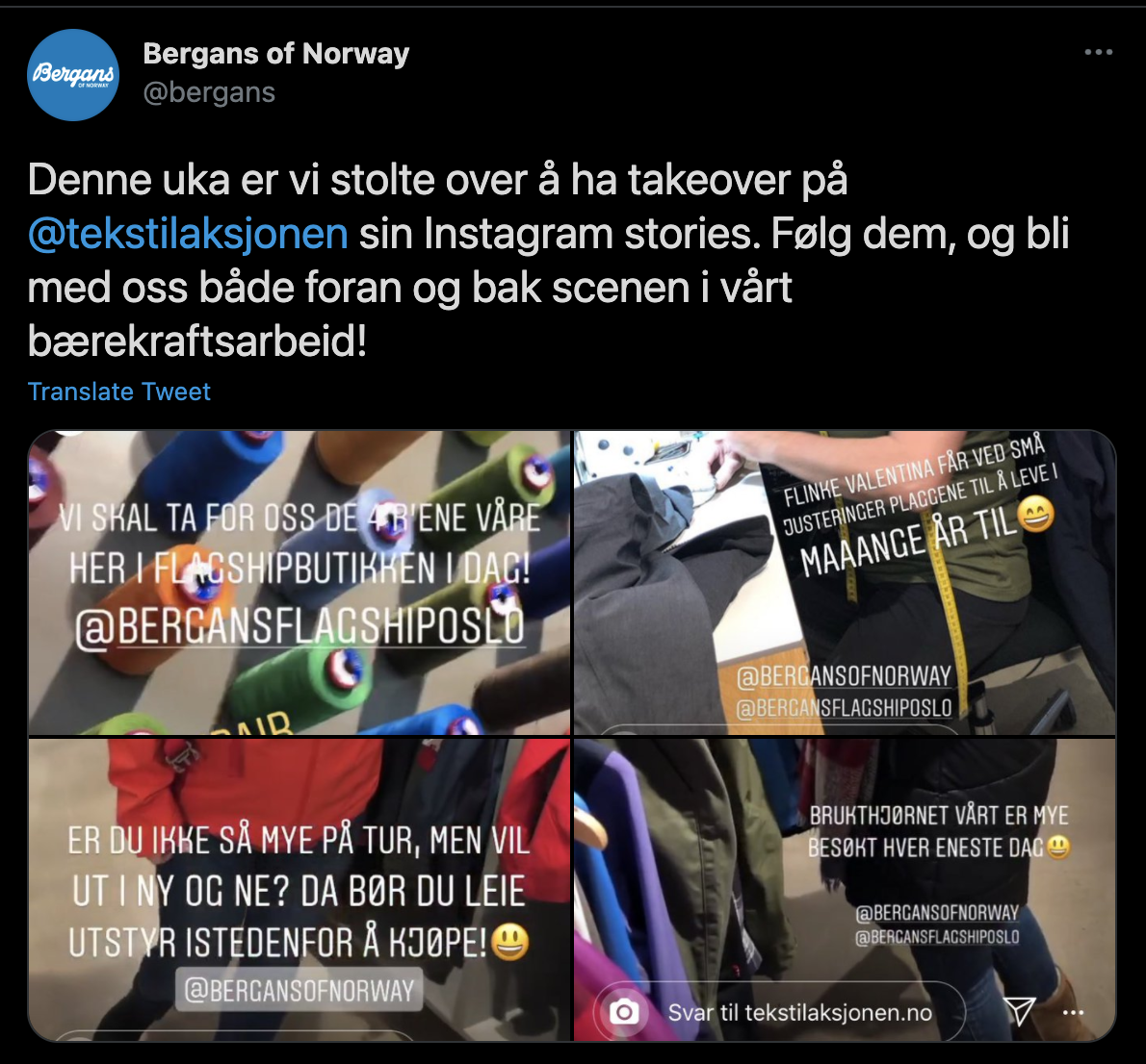 Bergans på instagram stories