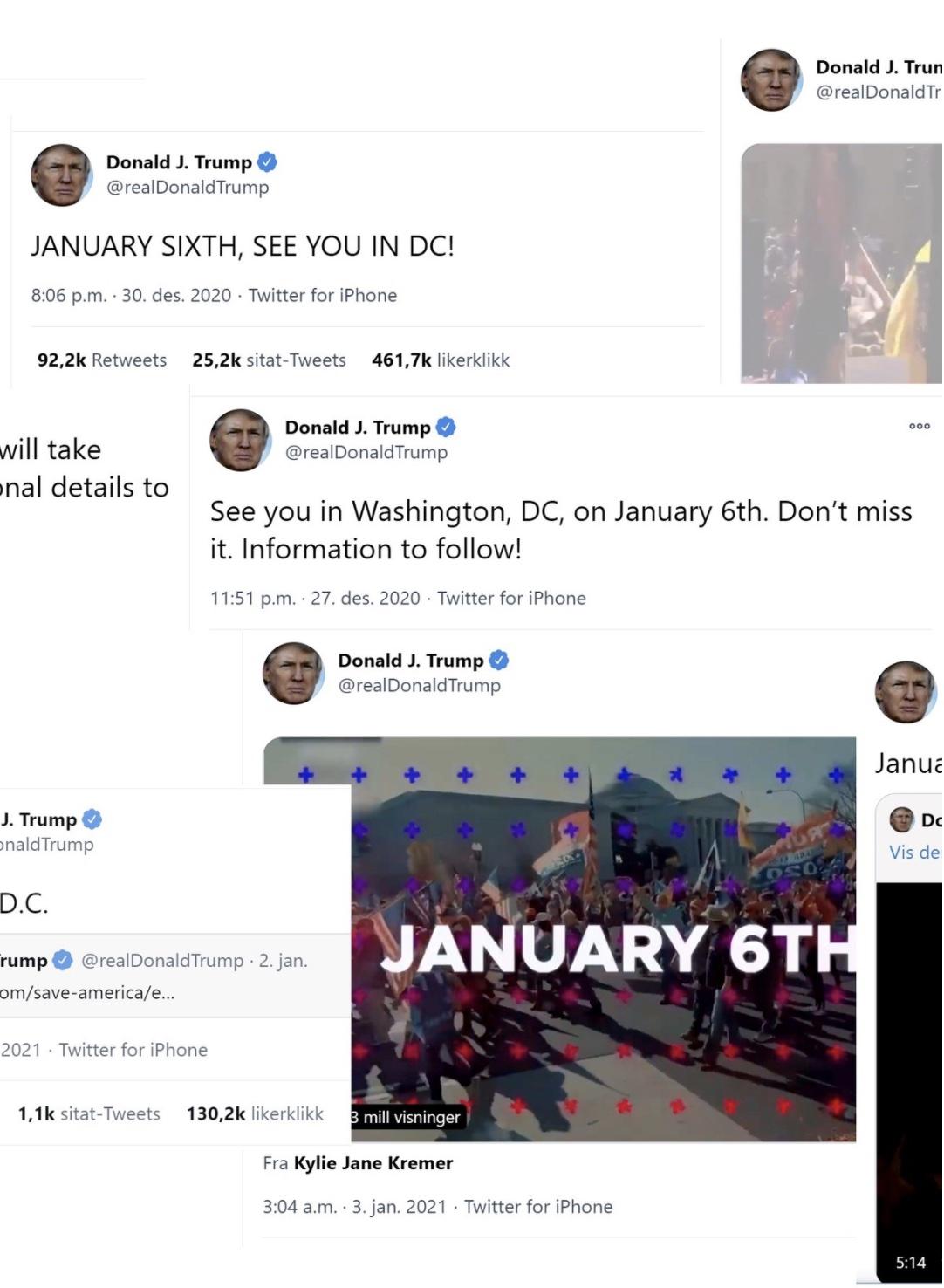 Trump sine twittermeldinger før angrepet på kongressen 6.januar 2021